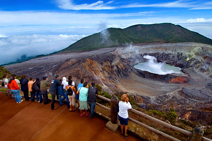 Tourists Admire The Very Active Crater Of The Poas Volcano, Costa Rica